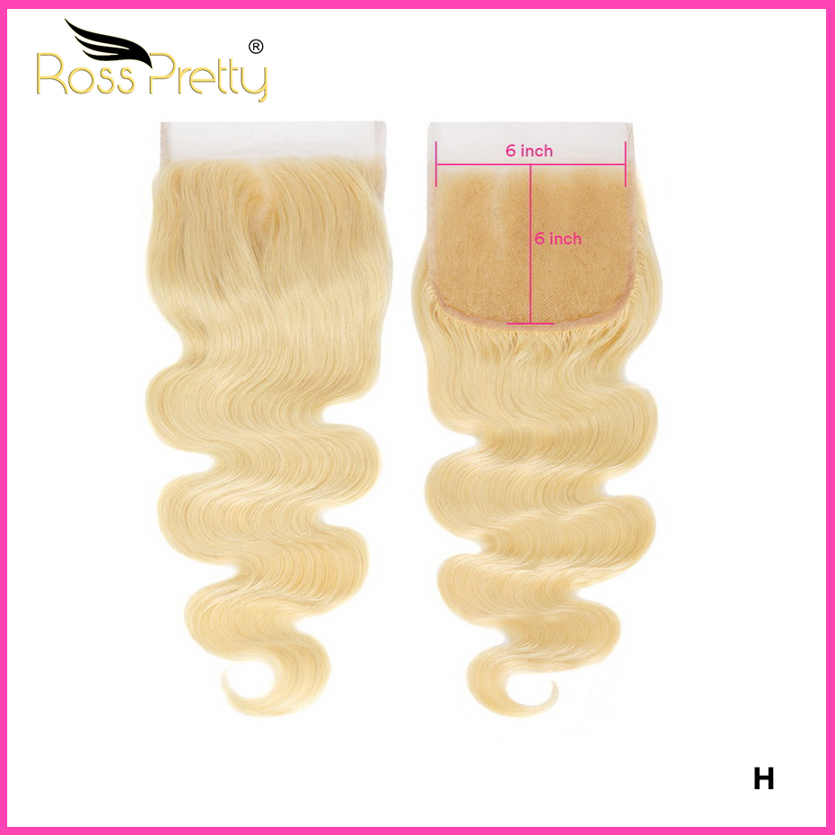 Brazilian Blonde 613 Body Wave Remy Hair Closure 6x6 Swiss Lace Closure With Baby Hair For Women 10-18 Inch Ross Pretty Hair