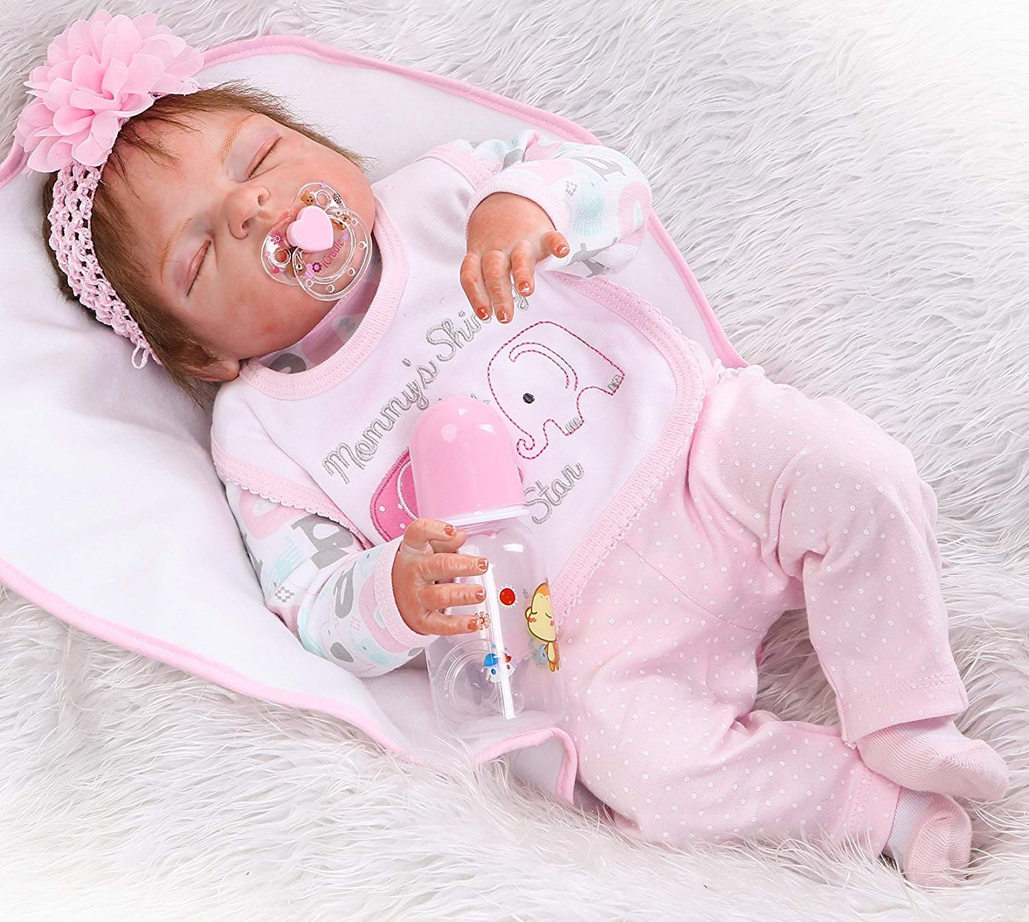 NPKDOLLS Reborn Baby Doll Girl Clothes 55 cm for 20-23 inch Reborn Dolls Clothing Outfit 7 Pieces Sets