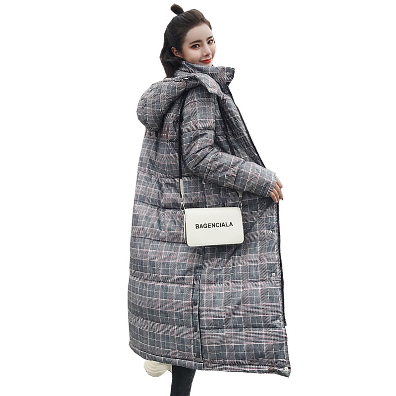 Winter Loose Long Down Coat Jacket Plaid Thick Warm Women Casaco Feminino Abrigos Mujer Invierno Cotton Padded Wadded Parkas