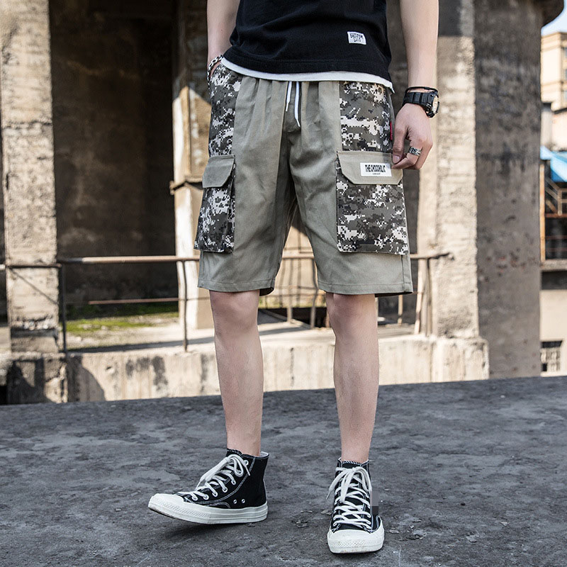 Men Cargo Camouflage Pocket Gyms Jogger Knee Length Shorts Male Workout Shorts Hip Hop Casual Shorts High Quality 2019 Summer