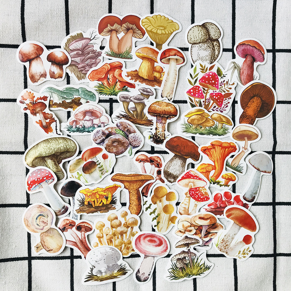 40pcs / Bag Hand-painted Colorful Small Mushroom Waterproof Sticker DIY Scrapbooking Album Diary Happy Plan Decorative Sticker