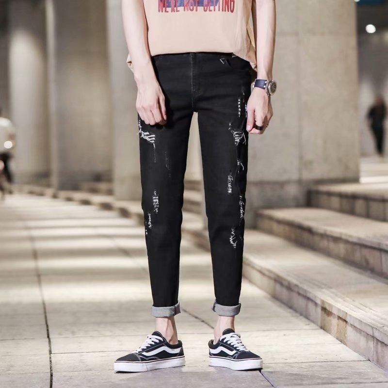 2019 New Men's Skinny Jeans Black Denim Jeans New Fashion Men Pencil Pants Slim Jeans Men Ripped Ankle Length Jeans