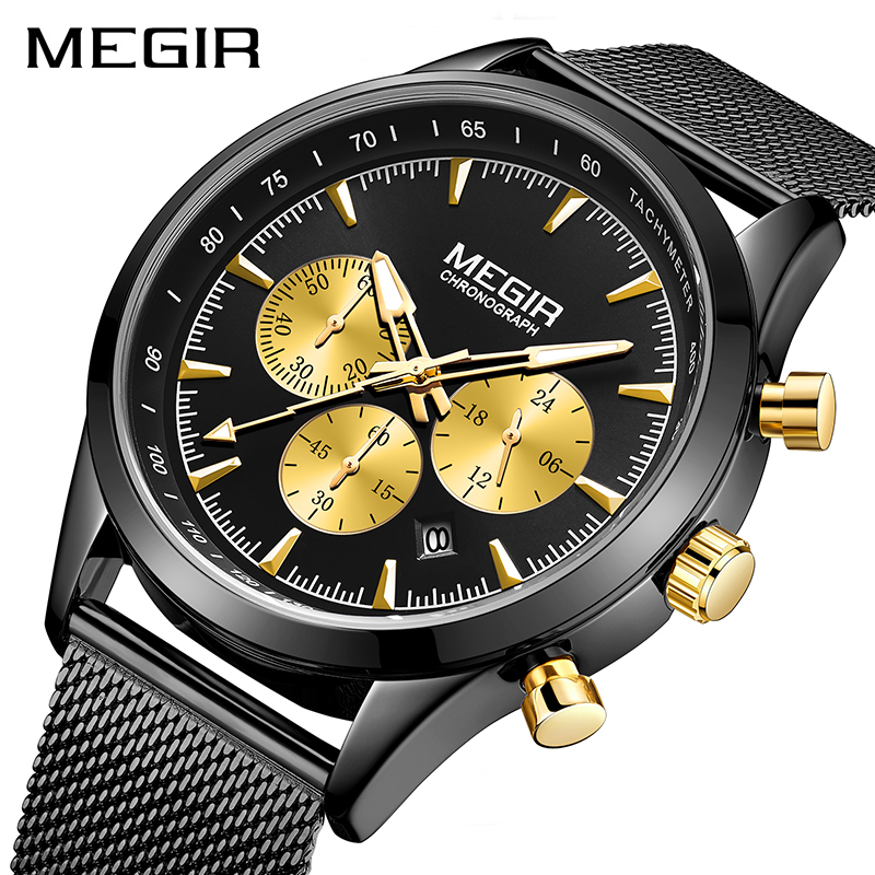 2020 New Relogio Masculino MEGIR Men's Fashion Watches Simple Black Man Business Stainless Steel Mesh Belt Quartz Watch Men Saat