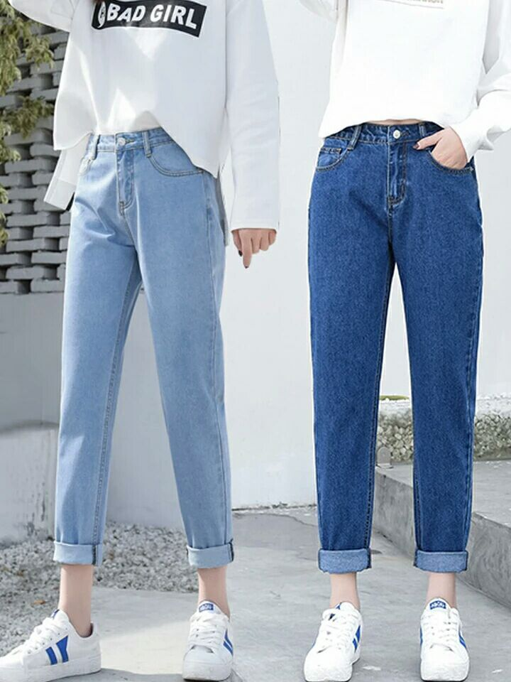 Summer High Waist Chic Jeans Woman Nine Part Loose Thin All-match Directly Cuffless Trousers Straight Wide Leg Nine Points Jeans