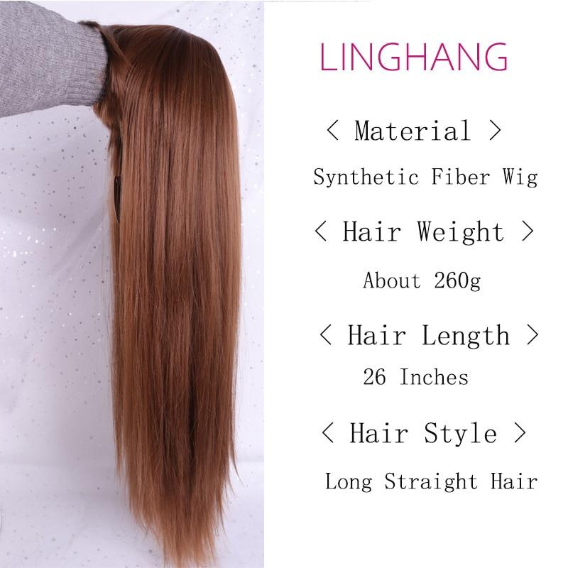 Linghang черный длинный прямой парик с челкой синтетические