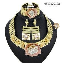 Yulaili 2019 роскошное золотое ожерелье с подвеской серьги браслет кольцо африканская Нигерия свадебные ювелирные наборы