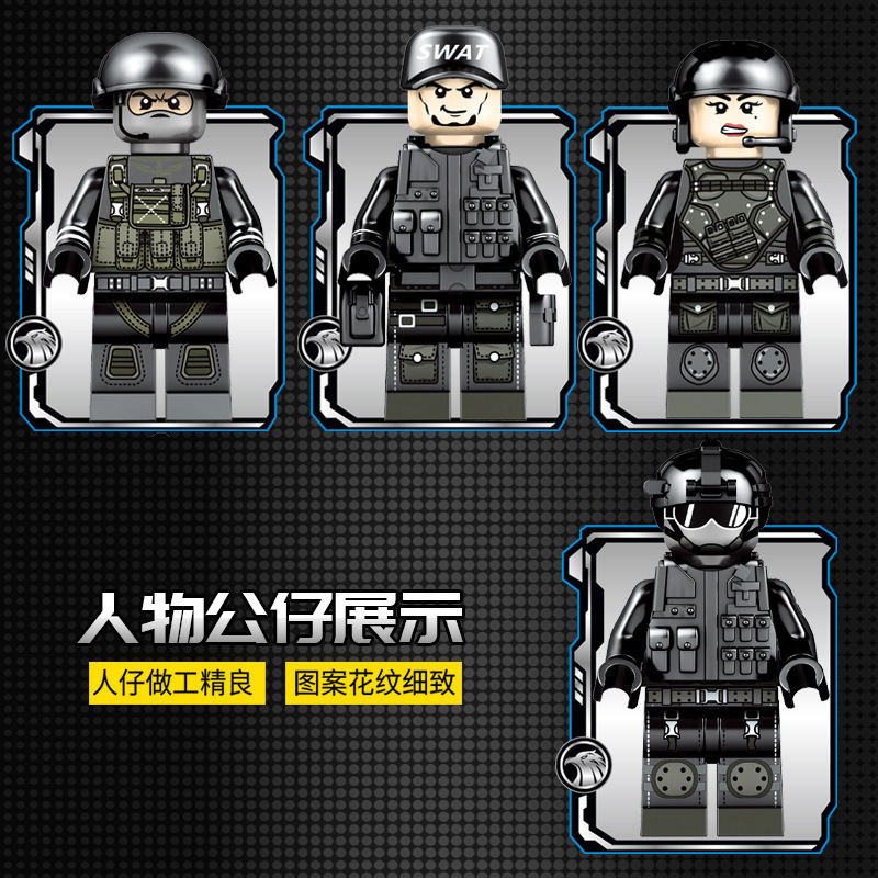 Wrecker Barrier Removal Armored Vehicle Black Hawk SWAT Military Model Building Blocks Sets Bricks Educational toys for Children in Blocks from Toys Hobbies