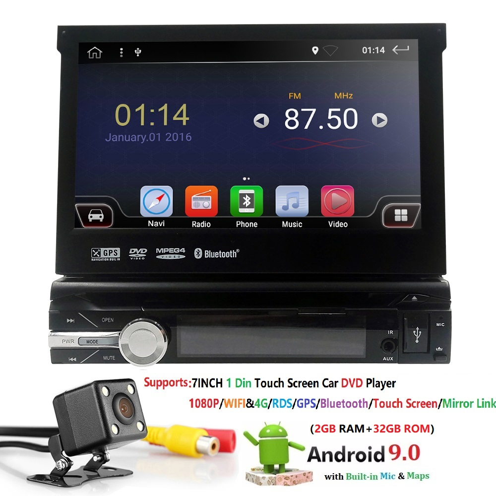 Android 9 1 din 7 Universal Car Radio GPS Navigation Autoradio Video Player Bluetooth Retractable Touch Screen MP5 Stereo Audio image