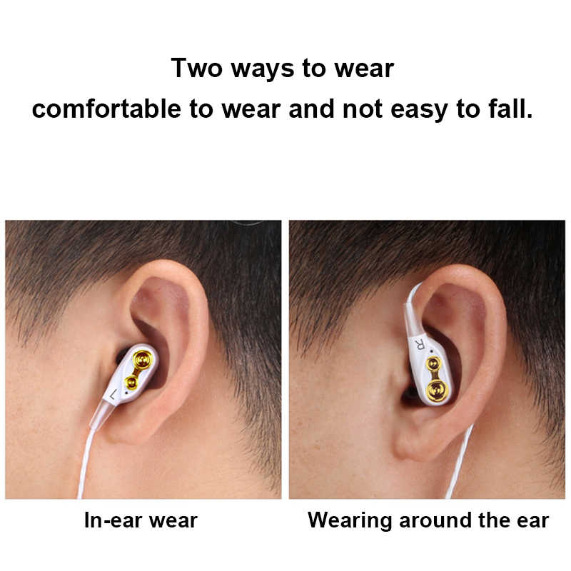 3.5 Mm Dual-Drive Stereo Headset In-Ear Olahraga Earphone Kabel Headset dengan Mikrofon untuk Iphone Samsung Huawei Millet