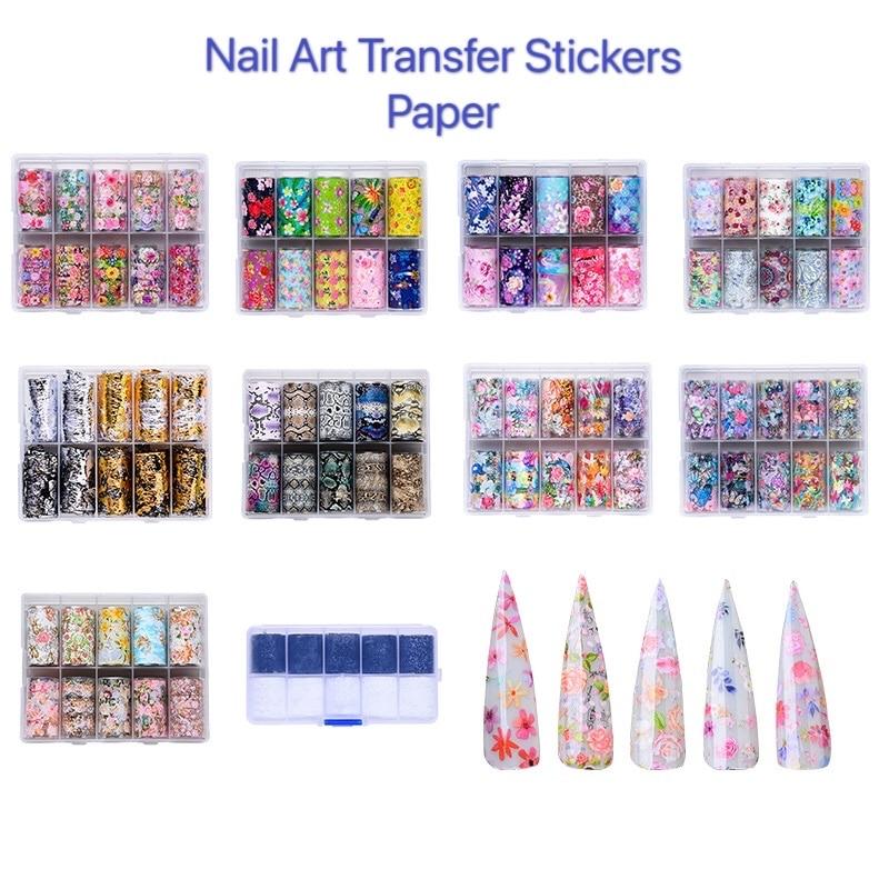 10Pcs/box Holographic Nail Foils Sticker Starry Transfer Foil Nail Art Sticker Lace Flower Slide Wraps Decal Nail Decoration