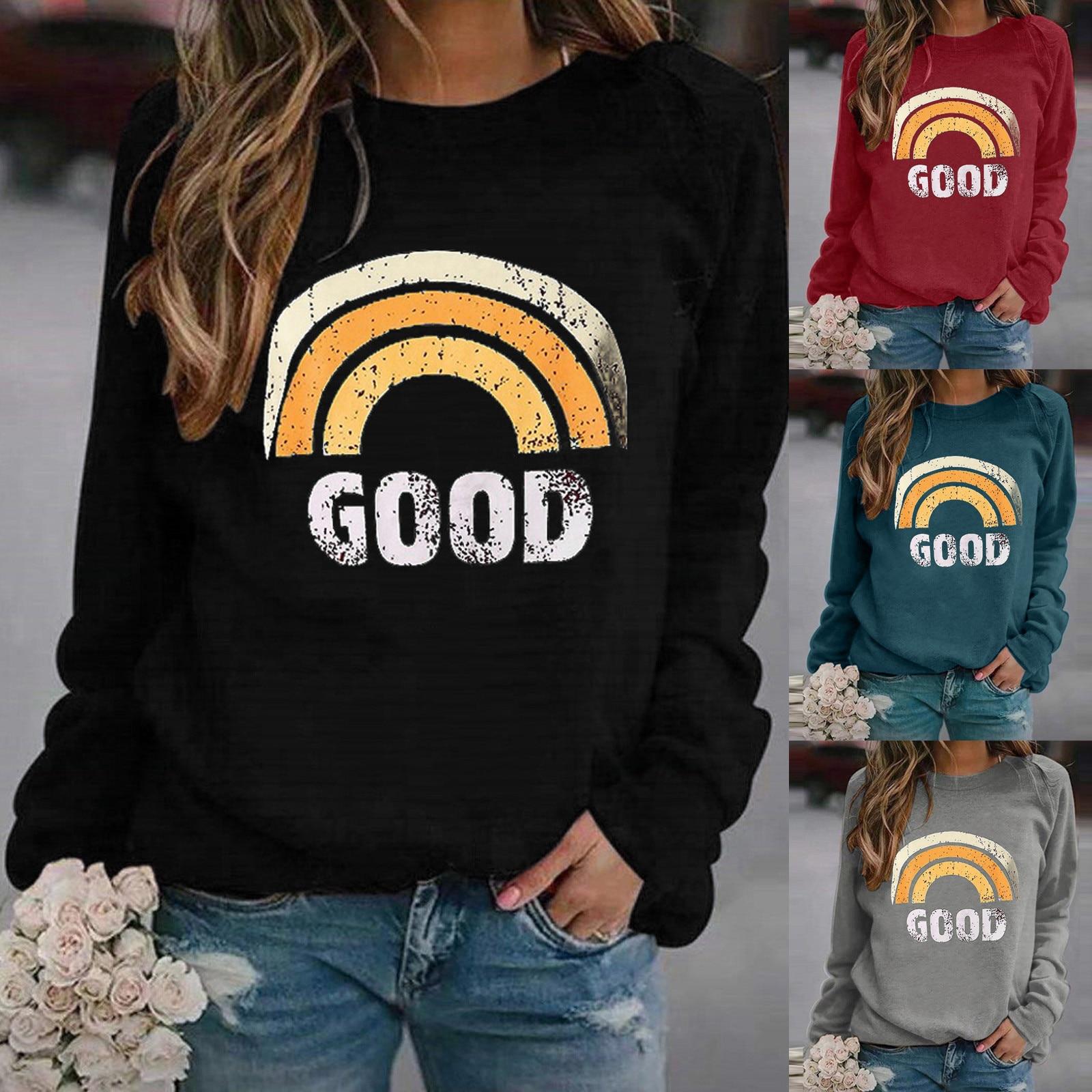 Plus Size Fashion Rainbow Print Blouse O-Neck Tops Tee Casual Autumn Winter Tops Ladies Female Women Long Sleeve Blusas Pullover