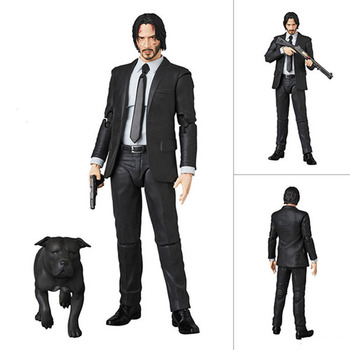 17CM Full Set Male Action Figure MAFEX085 MAFEX070 John Wick Dog Retired Killer Keanu Reeves Figure Model Toys image