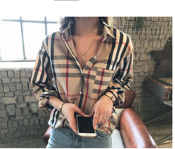 2020 Spring New Classic Plaid Shirt Korean Retro Loose And Thin Temperament Long-sleeved Shirt