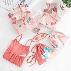 Image 3 - JRMISSLI Pijama de algodón con estampado de sandías, conjunto de 7 piezas de retazos, sin tirantes, para primavera y otoño