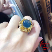 SHIQING Real gemstone nature blue amber big flower gold color luxury silver ring for women