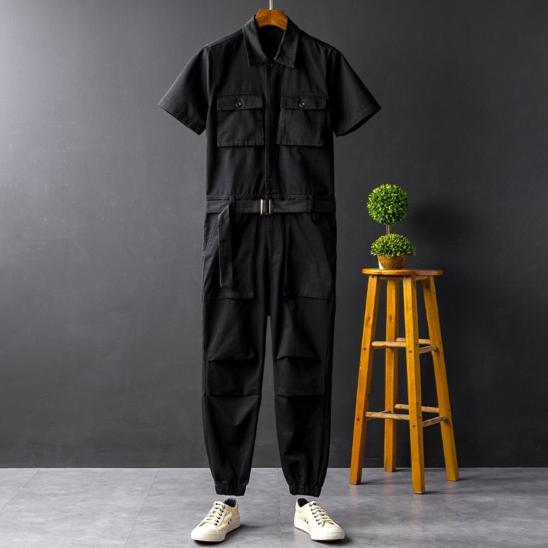Summer Solid Short Sleeve Pockets Mens Jumpsuits Plus Size Casual Full Length Pants Costumes Loose Unisex Fashion Cargo Overalls