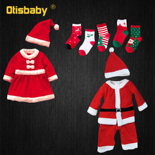 New Year Boys & Girls Christmas Santa Claus Costume for 1 - 12 Age Kids Infant Dress Baby Girl with Xmas Socks