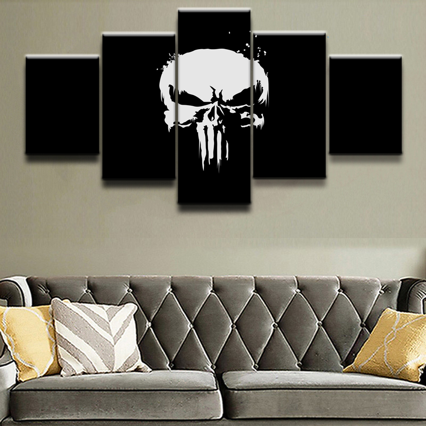 Painting Home Decor Framework Wall Art Modular Pictures 5 Pieces Comics Marvel The Punisher Poster Top-Rated Canvas Print image