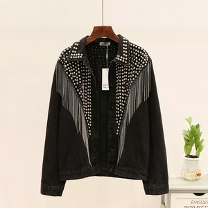 Image 1 - 2020 Autumn Denim Jacket Coat Women Rivet Tassel Chain Short Coats Woman Loose Streetwear Long Sleeve Black Coats Outerwear
