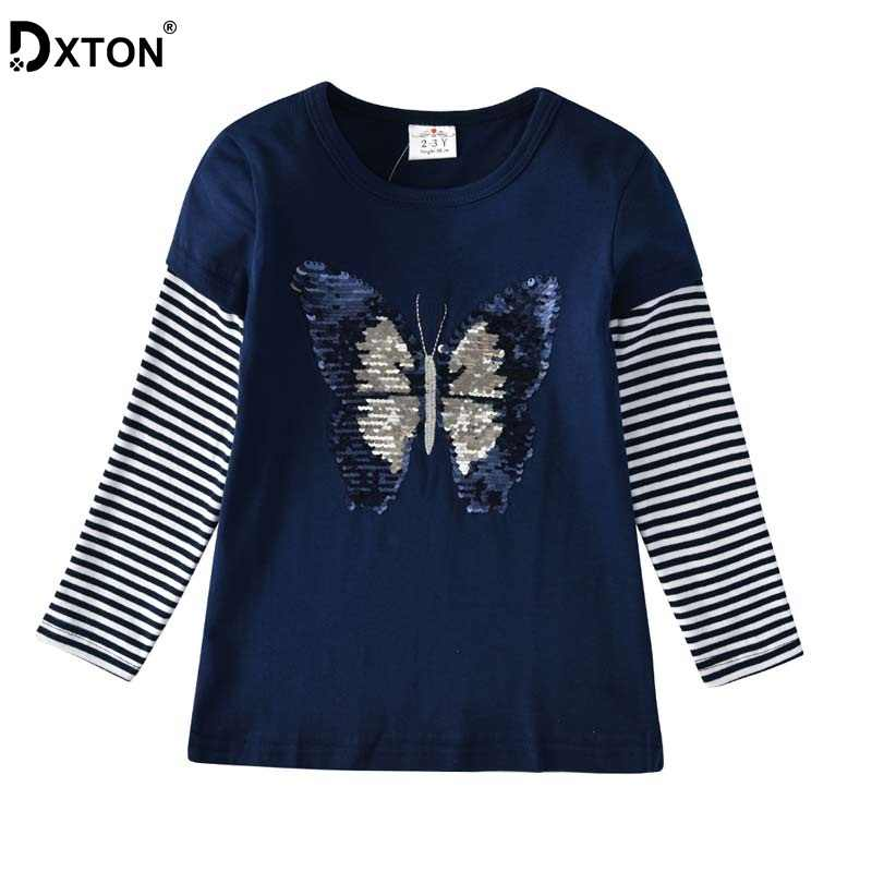 DXTON Girls T shirts Winter Kids Tops Long Sleeve Girls Tees Butterfly  Sequined Children Clothes Stripe Cotton Girl Tshirts 3 8Y|Tees| - AliExpress