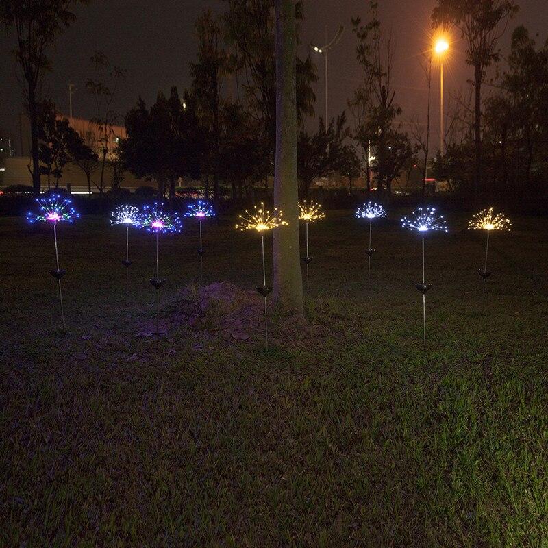 oito modos função dandelion gramado luzes grama