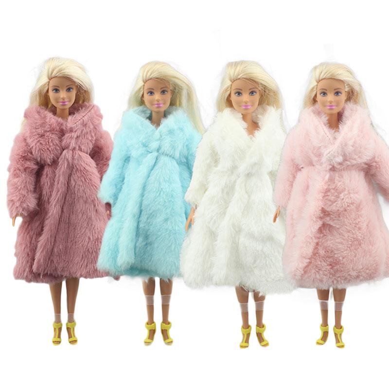 1 комплект, мягкая шуба с длинными рукавами, платье топ, зимняя теплая повседневная одежда, аксессуары, одежда для кукол Барби, детская игрушка, несколько цветов|Куклы|   | АлиЭкспресс