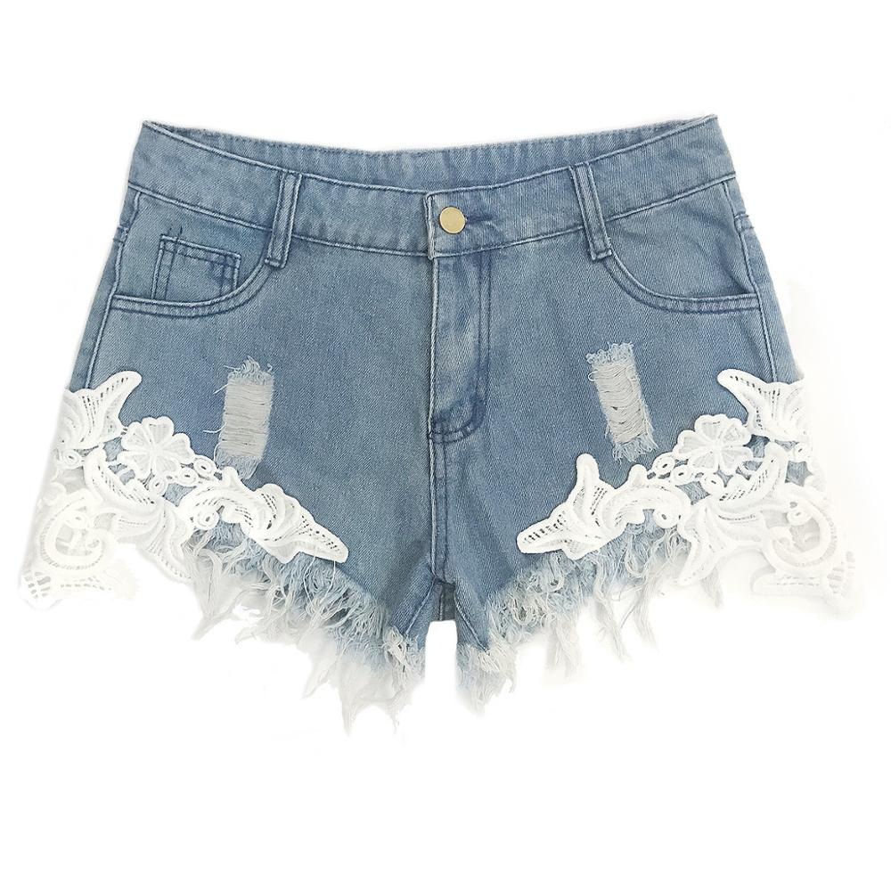 US Womens High Waist Jeans Ripped Hole Washed Distressed Short Outdress Jeans