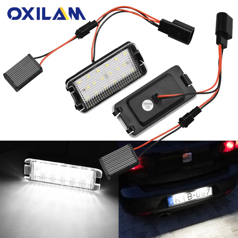 2Pcs Error Free Car LED Number License Plate Lights For Seat Ibiza 6L Ab Altea Arosa Cordoba MK1 MK2 Leon Toledo III 2004-2009