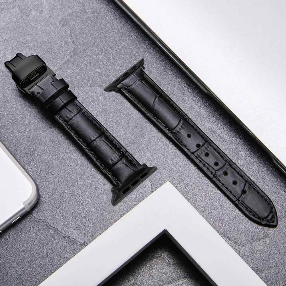 หัวเข็มขัดผีเสื้อสายหนังสำหรับ Apple Watch 5 4 band 44 มม.40 มม.สำหรับ Apple Watch 42mm 38mm iWatch 5 4 3 2 1 สร้อยข้อมือ