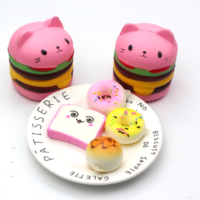 Cute <font><b>Big</b></font> Size <font><b>Squishy</b></font> <font><b>Toy</b></font> Slow Rising Scented Squeeze Luky Cat Hamburger <font><b>Squishy</b></font> Gift Kawaii Squishies Stress Reliever <font><b>Toys</b></font> image