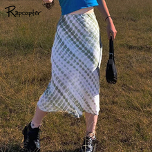 Rapcopter Tie Dye Printed Skirts Y2K Frill Long Mid-Calf Straight Skirts Women High Waist Cute Retro Party Outfits Streetwear