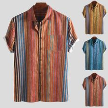 Breathable Ethnic Style Print Vintage Short Sleeve Shirt Men's Colorful Stripe Summer Loose Buttons Casual Beach Hawaiian Shirts(China)