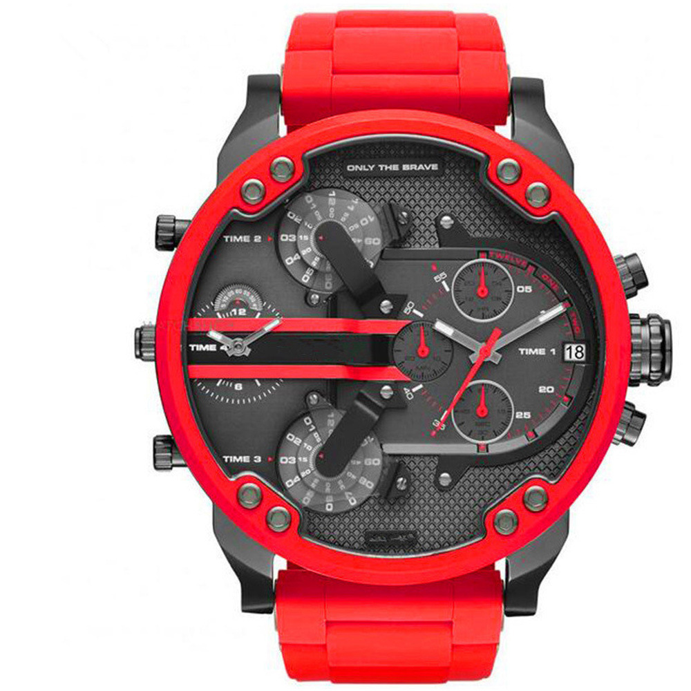 Men Watch Top Brand Men's Watch Men Large Dial Double Movement Red White Watch Steel Band Quartz Watch