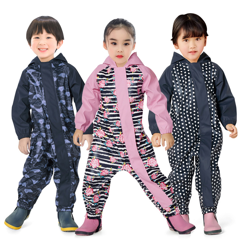 2020 Hooded Waterproof Girls Romper Dots Baby Unisex One-Pieces Rain Sport Boy Clothes Jumpsuits PU Summer Children Clothes