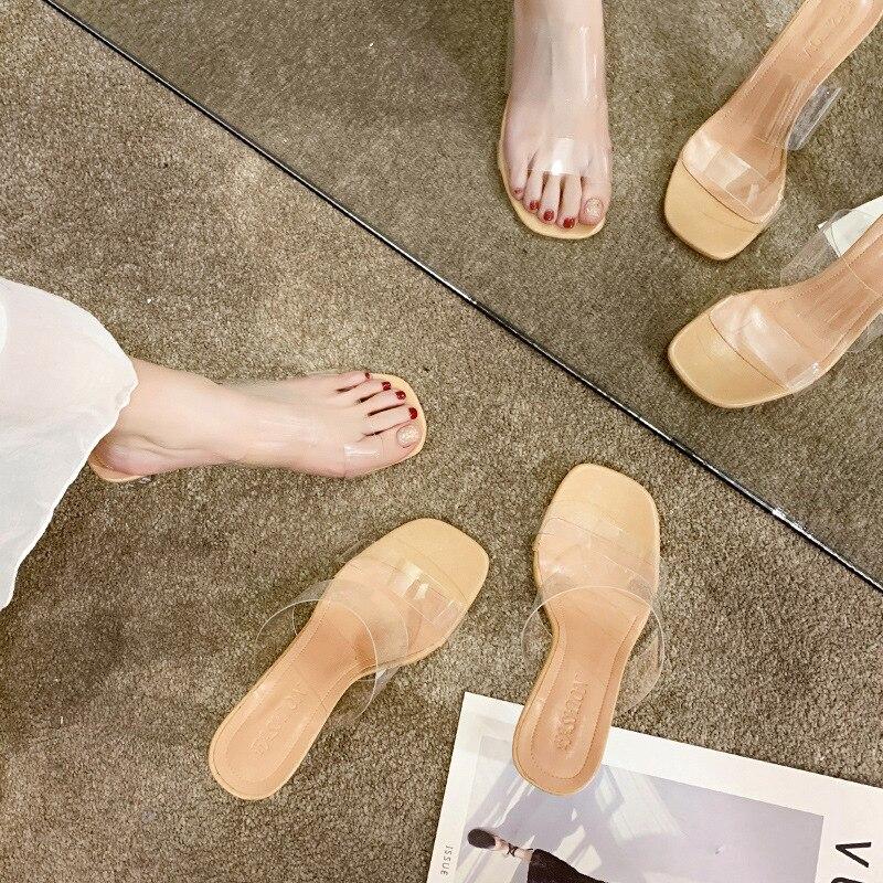 Glass Heel Sandals Women's Chunky-Heel High-Heel Slipper Clear Heel Luxury Shoes Women  Square Heel  Slip-On