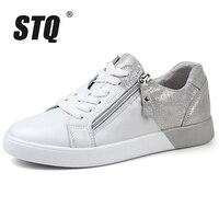 STQ 2020 nouveauté femmes chaussures plates zip en cuir véritable chaussures femme printemps automne couleur mixte mode baskets femme FY16010