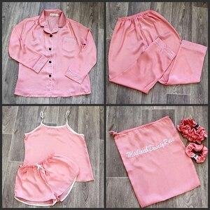 Image 5 - Mulheres pijamas 7 peça conjunto de seda manga longa superior cintura elástica calças salão completo feminino sleepwear conjuntos primavera verão casa wear