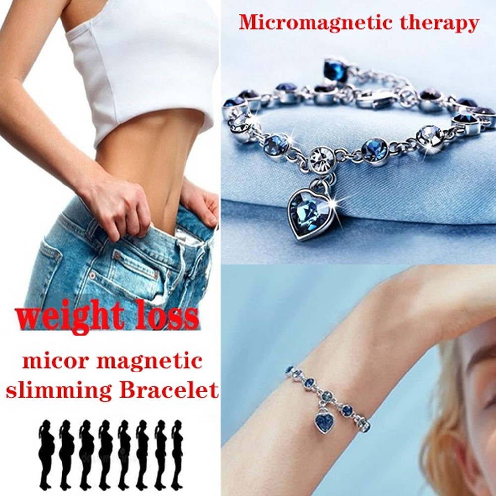 Fashion Crystal Bracelet Gold and Silver Buring Fat Magnetic Therapy Bracelets Weight Loss Products Slimming Health Jewelry