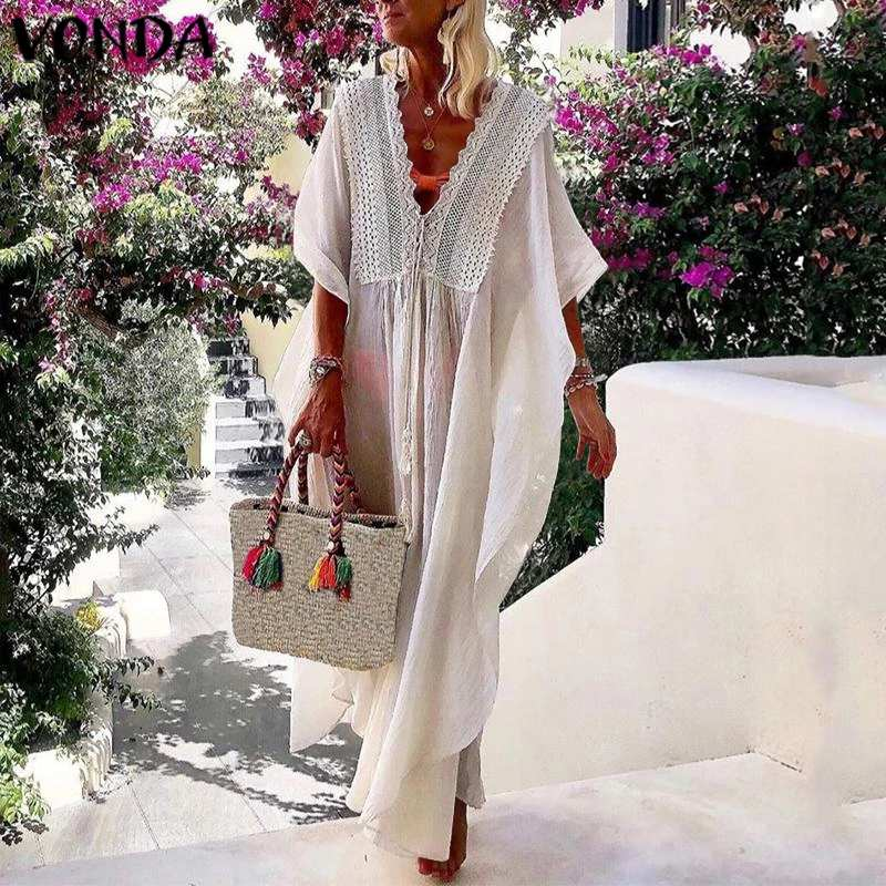 VONDA Womens <font><b>Sexy</b></font> Long Sleeve Party <font><b>Dresses</b></font> Women <font><b>Night</b></font> <font><b>Club</b></font> Maxi <font><b>Dress</b></font> 2020 Summer <font><b>Dresses</b></font> Deep V-Neck <font><b>Transparent</b></font> Sundress 5XL image