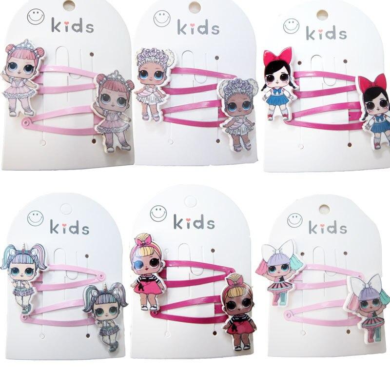 Newborn Headband Kids LOL Hair Accessories   Headwear   2Pcs/Set Lol Hairpins Cartoon Mermaid Horse Rainbow Hair Clip for Girl
