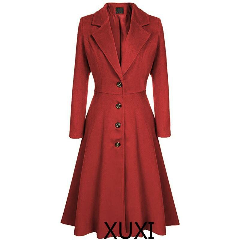 XUXI Elegant Women Mix Warm Winter Mix Long Coat Neck Back Coat A Breast Woman Office Work Swing Female Overcoat Manteau FZ764