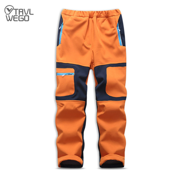 TRVLWEGO Children Winter Softshell Hiking Pants Thermal Fleece Kids Pants Outdoor Waterproof Camping Trekking Skiing Thousers new outdoor pants men women camping hiking mujer softshell pantalon hombre climbing camouflage thermal trekking hunting trousers