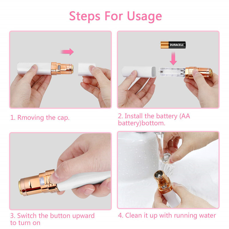Person - USB Charging Portable Electric Epilator Painless Hair Remover Epilator Eyebrow Trimmer Shaver For Face Lip Cheeks Women