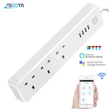 Multi WiFi Smart Power Strip Surge Protector UK Electrical Plugs Adaptor Socket 3 Outlets 4 USB Port work with Alexa Google Home(China)