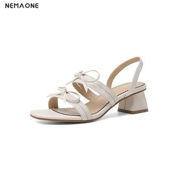 2020 New Genuine Leather Slingbacks Women Sandals Fashion Elegant Square High Heel Women Shoes Ladies Summer Party Sandals