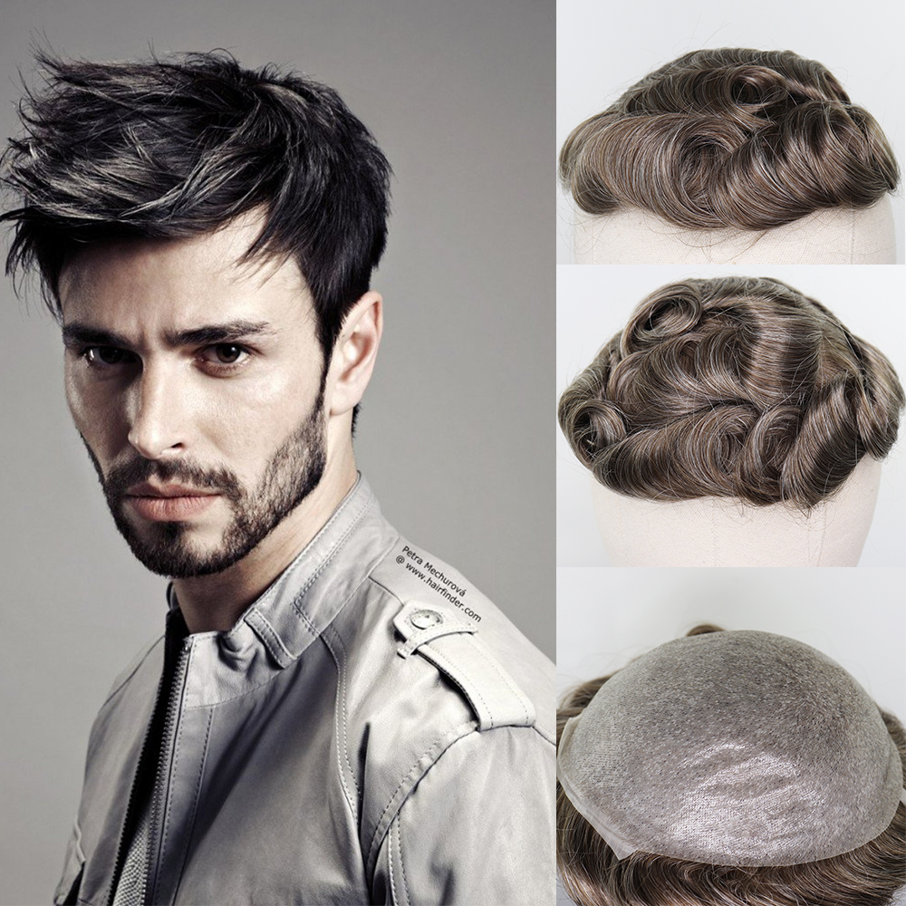 YY Wigs Men's Toupee 8x10 Thin Pu Brown Mix Grey Color Skin Replacement System 6 Inch Malaysia Remy Hairpiece  Mix Color Men Wig