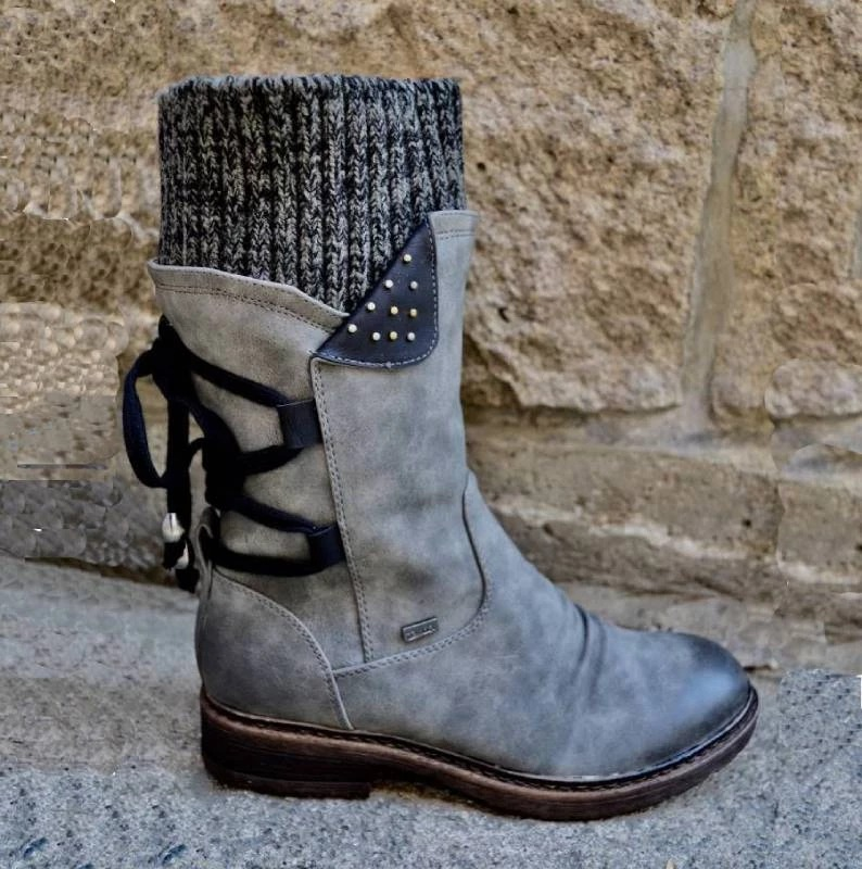 Women Boots Fashion Autumn PU Mid-Calf Boots With Back Lace-up Design Boots Solid Color Low Heels Shoes Botas Mujer 2020