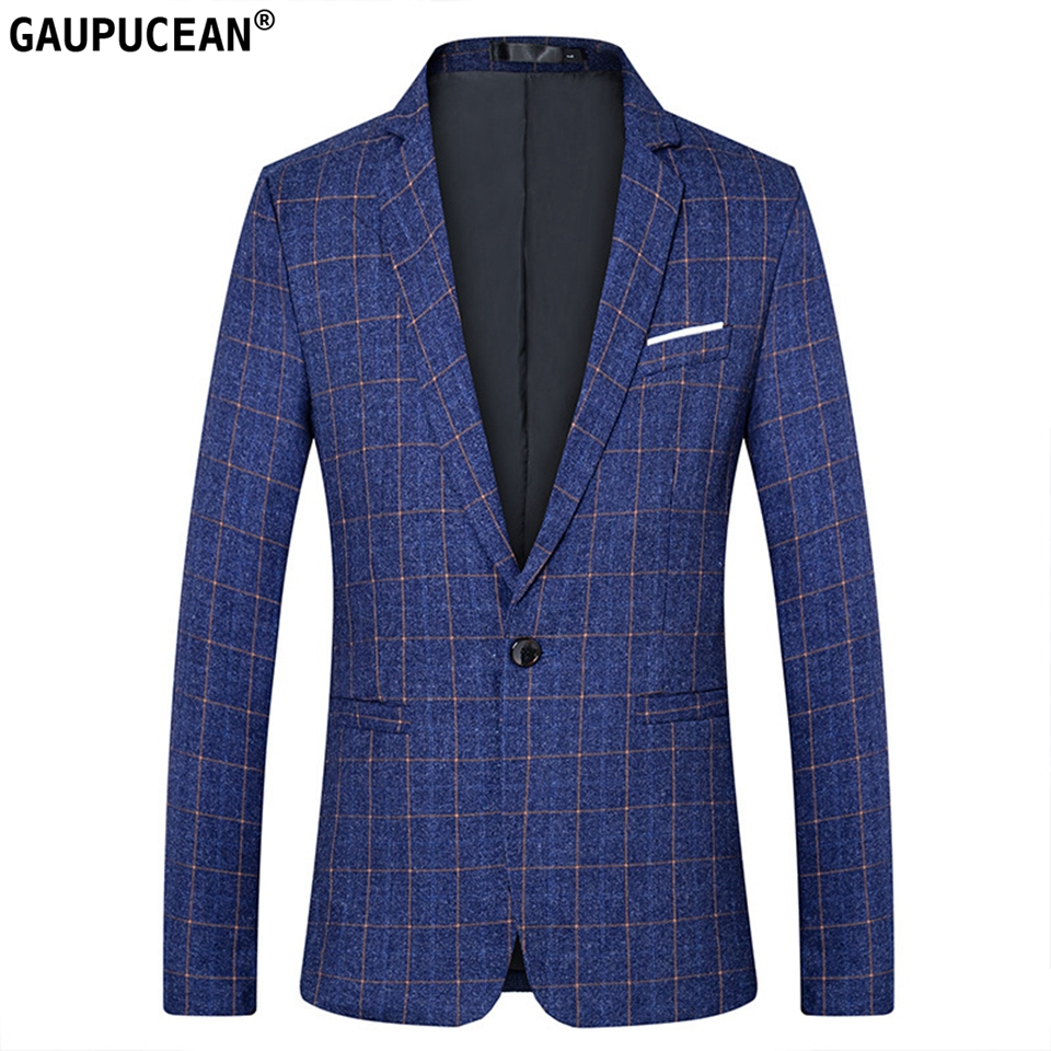 Easy Care Fashion Plaid Slim Man Suit Jacket Quality Male Checked Blue Red Black Casual Spring Autumn One Button  Men Blazer