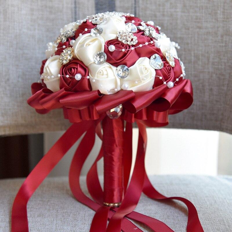 1Piece Red Stunning Pearls Beaded Crystal Brooch Stitch Wedding Bouquets Elegant Custom Ivory Bridal Wedding Bouquets
