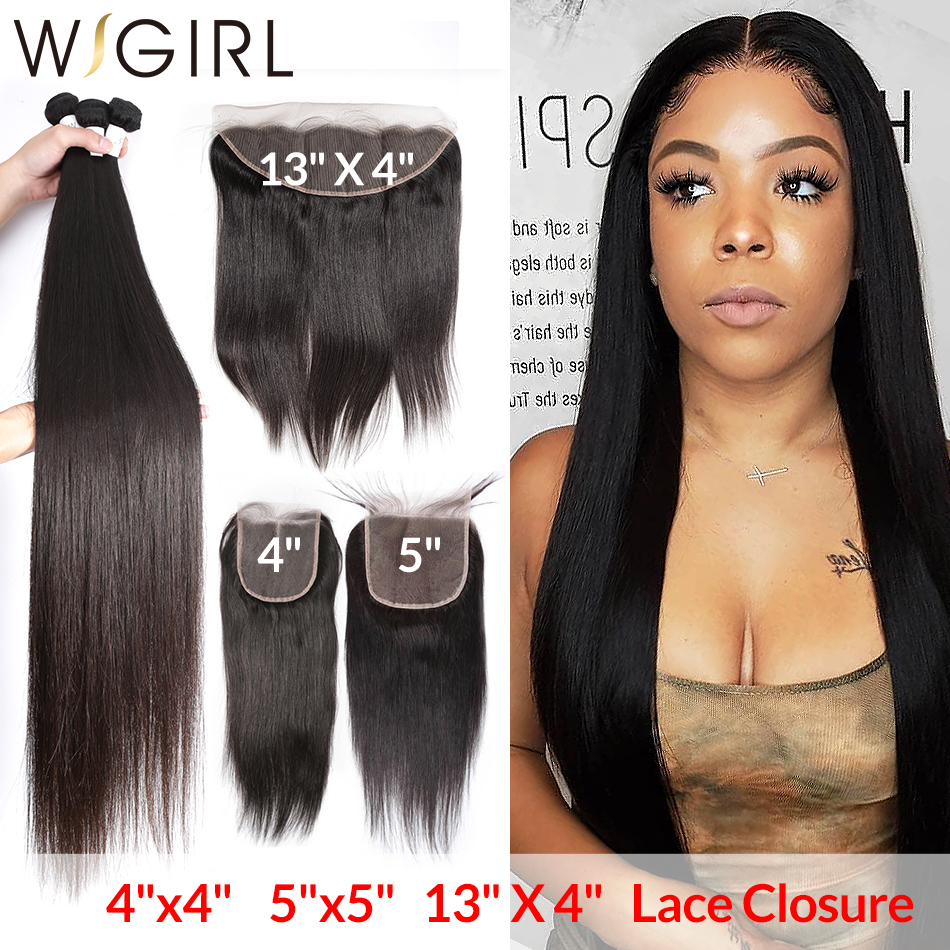 Straight 8- 28 30 32 40 Inch 3 4 Brazilian Hair Weave <font><b>Bundles</b></font> With 4X4 <font><b>5x5</b></font> 13x4 <font><b>Lace</b></font> <font><b>Closure</b></font> Frontal Remy Human Hair Weaves image